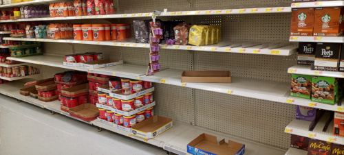 Grocery Store Shelve Going Bare
