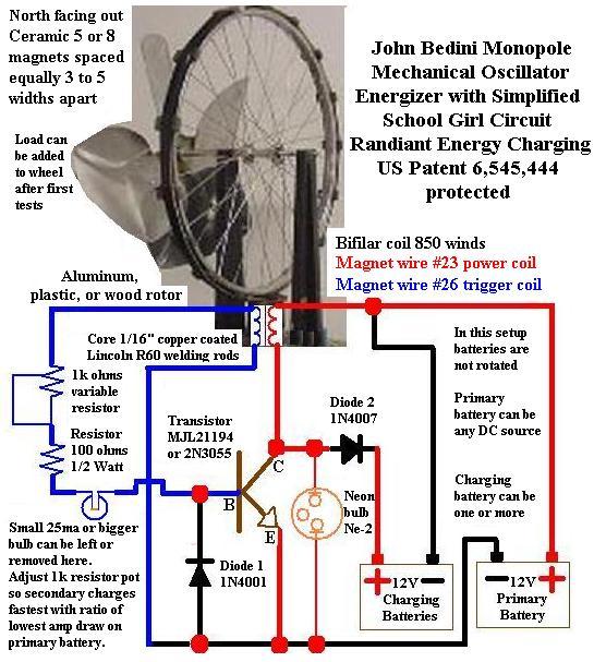 Radiant Energy Battery Restoring Circuit
