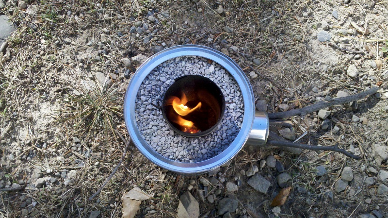 Test burning the new home made rocket stove